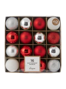 Linea Set of 16 Red & Silver shatterproof baubles