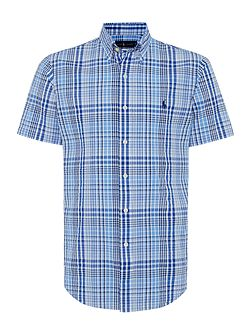 Slim Fit Seersucker Short Sleeve Check Shirt