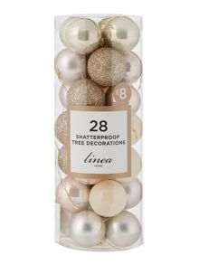 Linea Pack of 28 Blush & Silver shatterproof baubles