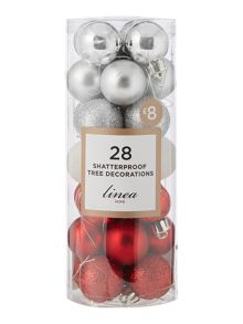 Linea Pack of 28 Red shatterproof baubles