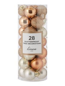 Linea Pack of 28 Gold & Bronze shatterproof baubles