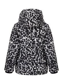 name it Girls Animal Print Long Jacket With Hood