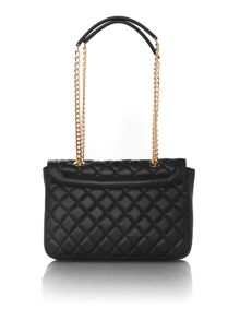 Love Moschino Superquilt black medium flapover shoulder bag