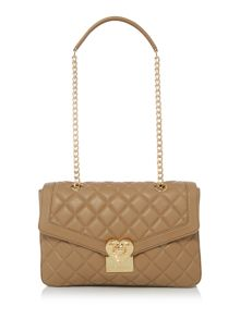 Love Moschino Superquilt taupe medium flapover shoulder bag