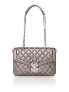 Love Moschino Superquilt silver medium flapover shoulder bag
