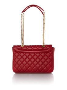 Love Moschino Superquilt red medium flapover shoulder bag