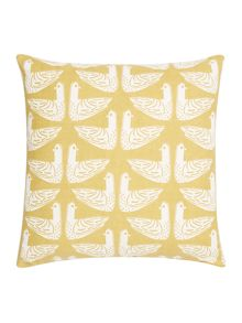 Dickins & Jones Bird print cushion, yellow