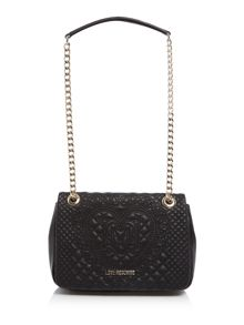 Love Moschino Embroidery black medium flapover shoulder bag