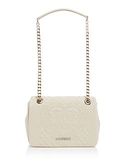 Embroidery ivory medium flapover shoulder bag