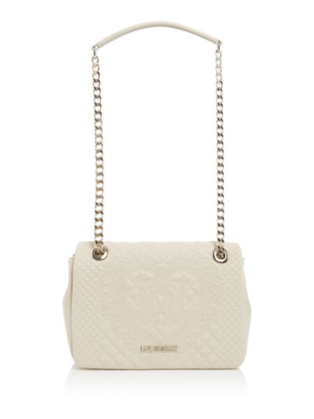 Love Moschino Embroidery ivory medium flapover shoulder bag