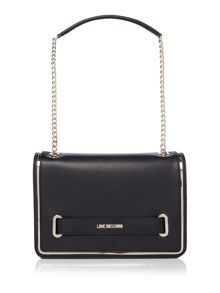 Love Moschino Belt black medium flapover shoulder bag