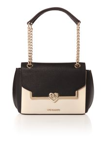 Love Moschino Heartlock black medium flapover shoulder bag