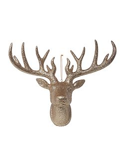 Large Stag head decoration in champagne glitter
