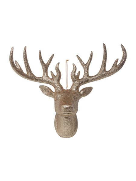 Linea Large Stag head decoration in champagne glitter