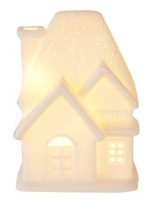 Linea Small white ceramic glitter house