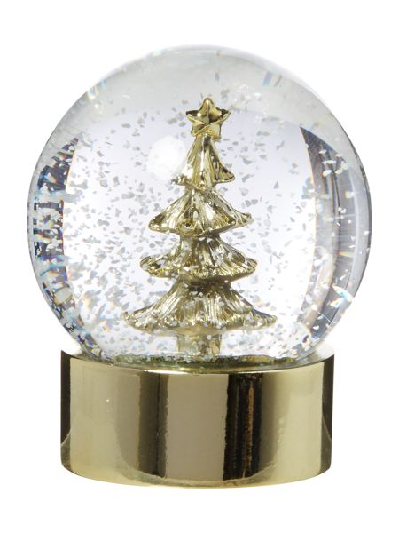 Linea Gold Christmas tree snow globe