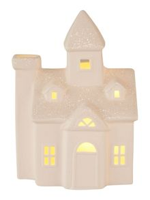 Linea White ceramic house with glitter roof