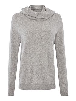 Cowl neck cashmere long line jumper