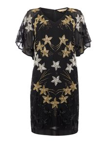 Biba Biba gold starburst beaded shift dress