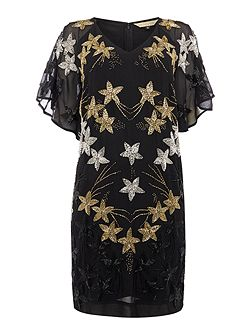 Biba gold starburst beaded shift dress
