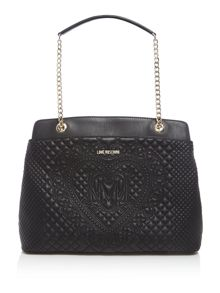 Love Moschino Embroidery quilt black chain shoulder tote bag