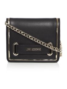 Love Moschino Belt black small flapover shoulder bag
