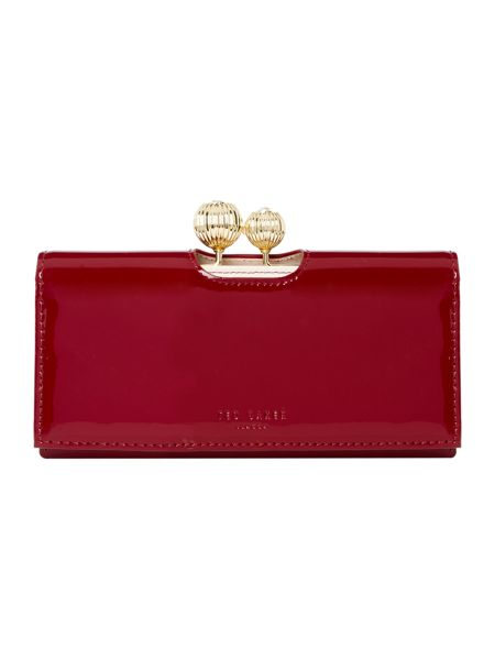 Ted Baker Kimmiko red large patent flapover purse