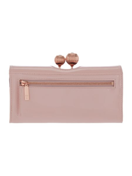 Ted Baker Kimmiko light pink large patent flapover purse