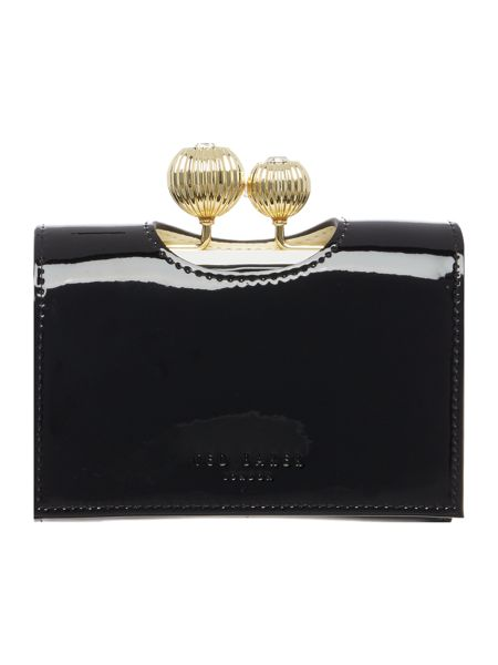 Ted Baker Julissa black small patent flapover purse