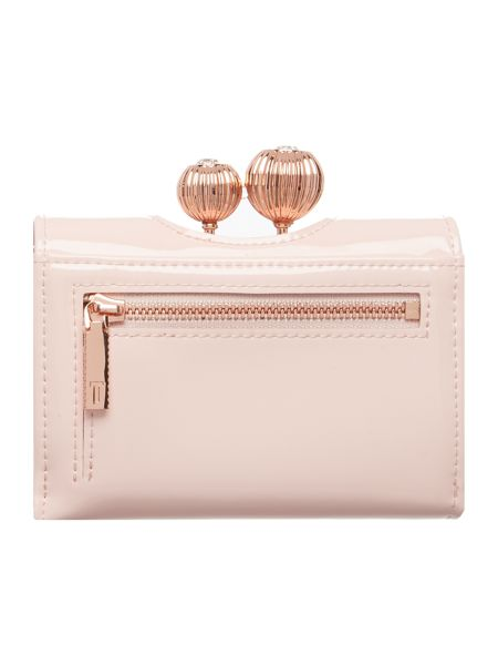 Ted Baker Julissa neutral small patent flapover purse