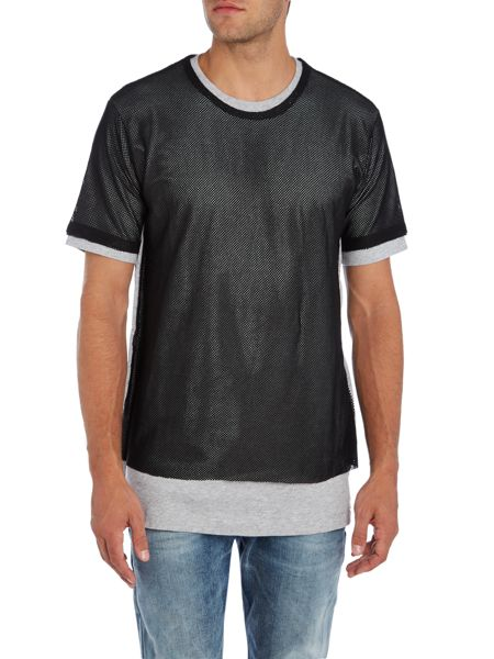 Diesel Regular fit mesh long line crew neck t shirt