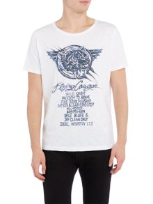 Diesel Regular fit cougar sketch print crew neck t shirt