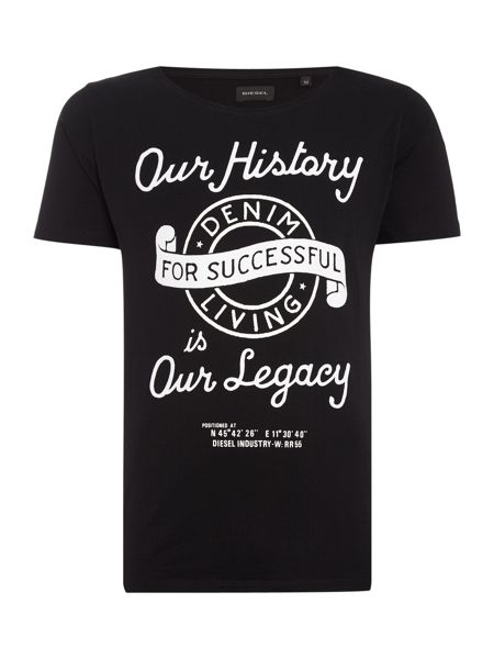 Diesel Regular fit Our History print crew neck t shirt