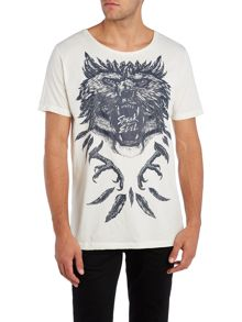 Diesel Regular fit speak no evil wolf print t shirt