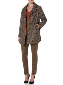 Max Mara Gilda long sleeve checked hounds tooth wool coat