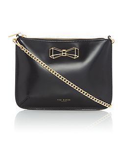 Gretaa black bow crossbody bag