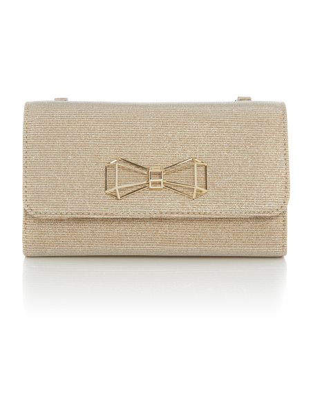 Ted Baker Traynor gold glitter clutch bag