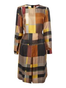Max Mara Austero long sleeve silk checked dress
