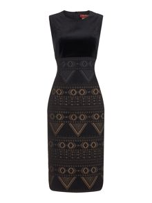 Max Mara Siena sleeveless printed dress with velvet top