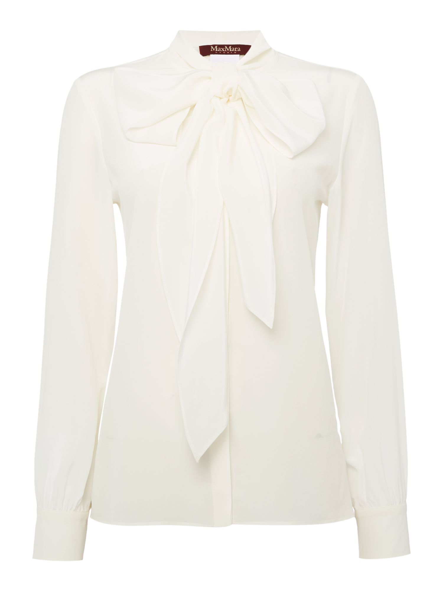 1920sStyleBlouses Max Mara Maldive long sleeve silk pussy bow blouse Cream £200.00 AT vintagedancer.com