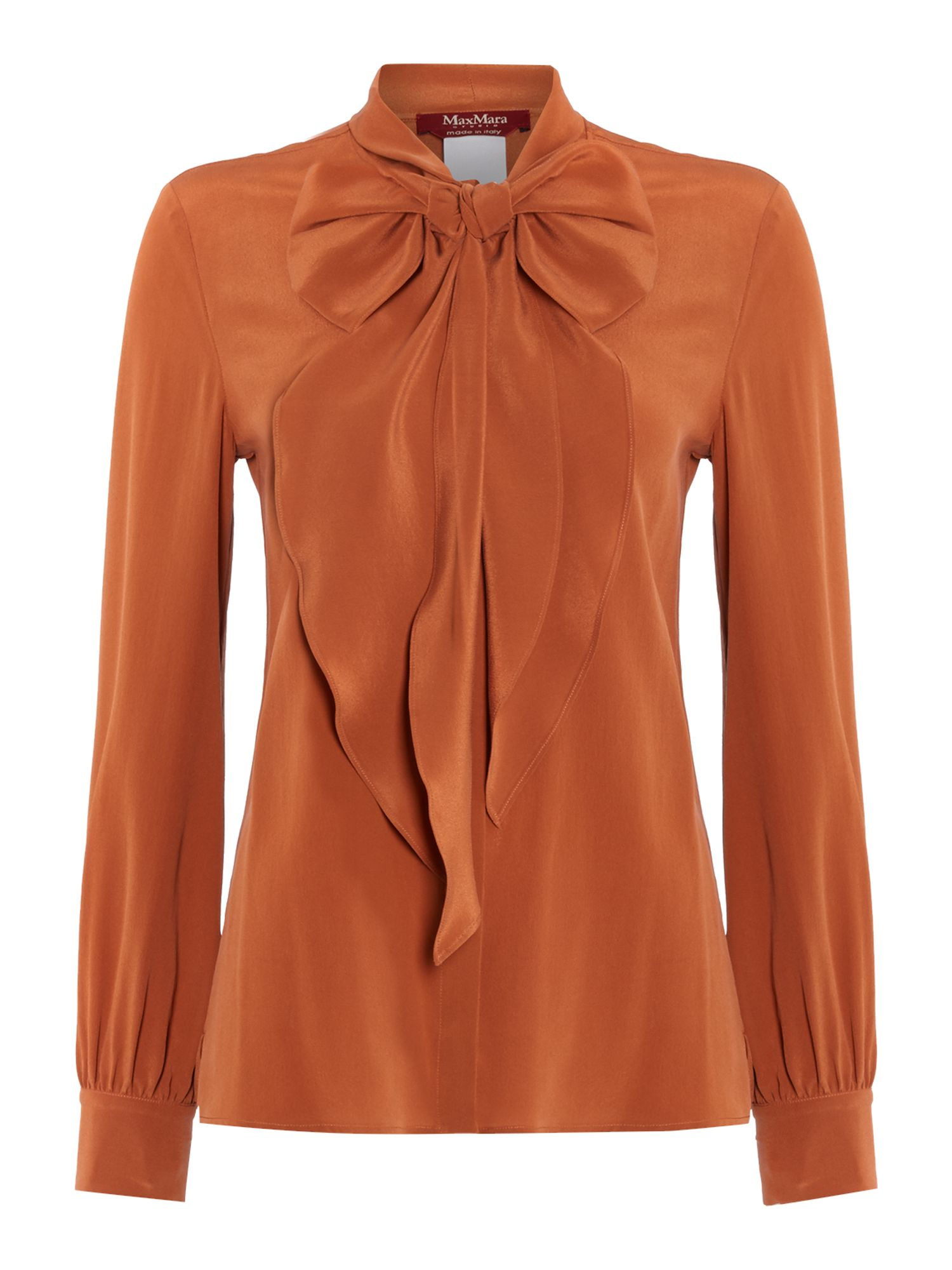1920sStyleBlouses Max Mara Maldive long sleeve silk pussy bow blouse Terracotta £200.00 AT vintagedancer.com