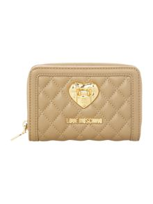 Love Moschino Superquilt taupe small ziparound purse