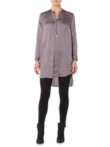 Gray & Willow Gabi hammered satin gathered back waist tunic