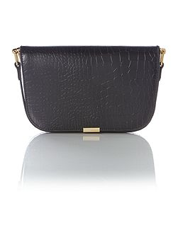 Melaney black snake skin shoulder bag