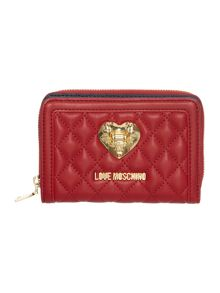 Love Moschino Superquilt red small ziparound purse