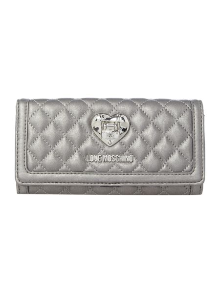 Love Moschino Superquilt silver flapover purse