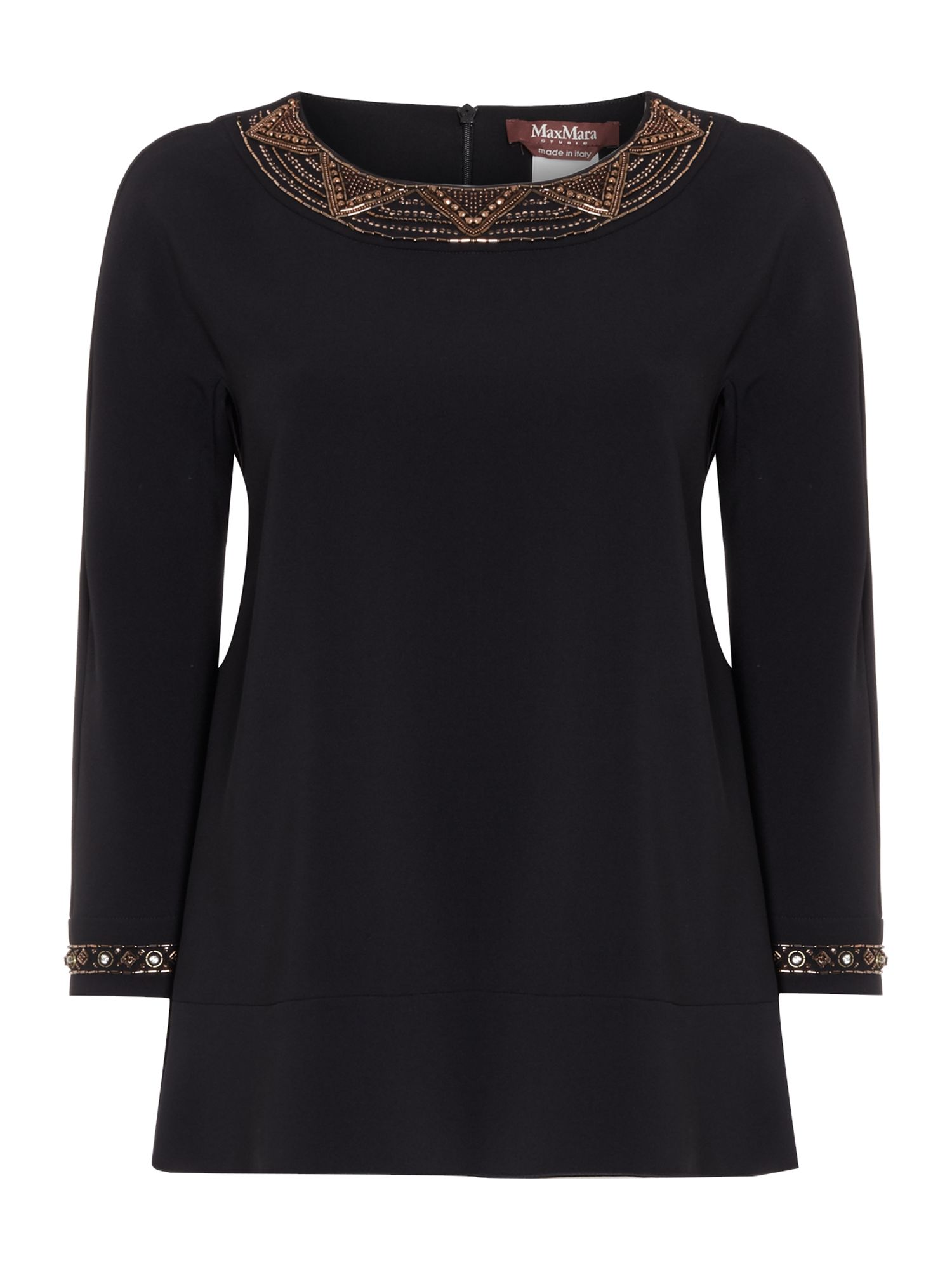 Max Mara Studio Flavio long sleeve embellished cuff top, Black