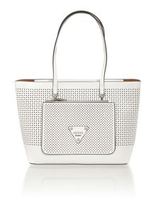Guess Audrey white tote with detachable pouch