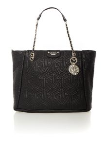 Guess G cube black quilt tote bag