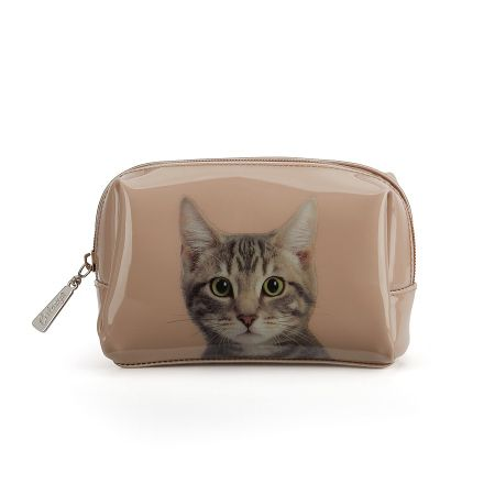 Catseye Tabby on taupe beauty bag